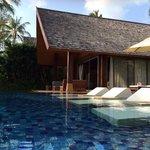Sun loungers in the pool