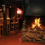 bar area with fire