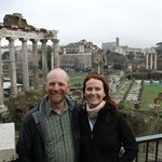 Brief pause in the rain for a photo overlooking the Forum