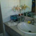 Bathroom sink and hair dryer