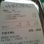 L'addition: 35€ pour trois pizzas ignobles !!!!!!!!!!
