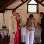 Rose signing the wedding register
