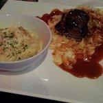 "Duck Cordon Bleu with Bacon Truffle Mac. Duck dry, tough and burnt; tasteless orzo + ""duck sauce"