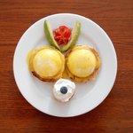 Eggs Benedict, fresh avocado, and mini-cheesecake - Yum!
