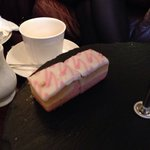 """""""A selection of handmade cakes, pastries and desserts"""".....actually a Mr Kipling Angel Slice tor"""