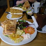 Corned Beef Panini, Coffee, Apple Juice, Carrot & Walnut Cake, Chocolate Cake