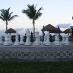 Giant chess board.. right by the beach and bar.