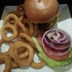 Good burger..store bought onion rings...come on!