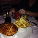 Pie and chips for man Lobster for woman