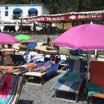 The private beach at Ristorante D'Adolfo