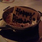 Dessert came with a candle & Happy Birthday tag made out of chocolate