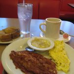 My breakfast-corned beef, eggs, grits, toast, coffee