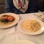 Salmon with side dish (huge!) of spaghetti