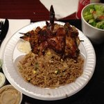 Ultimate grill (shrimp, steak, chicken & chorizo). Fried rice and a salad as a side. So tasty!