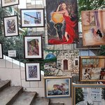 Art exhibits on the steps