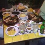 Our table was groaning under the weight of our dinner.