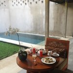 Breakfast next to Private Pool in Room Morotai