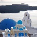 Santorini chapel wedding cake by pastry chef Lixoudis