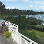 The large front deck overlooks Matauwhi Bay