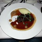 Braised Woodland Beef with Horseradish Mash, Onion Purée, Tarragon and Red Wine Sauce