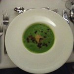 Pea and Ham Velouté with Ham Hock Tortellini and White Truffle Oil