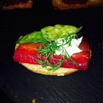 Beet root Gravadlax asparagus cream cheese and dill