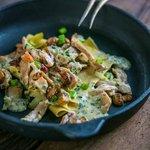"Rabbit Stroganoff, ""IKON style"" home rolled pasta"