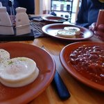 Poached eggs and baked beans