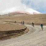 Descending Cotopaxi on a bike