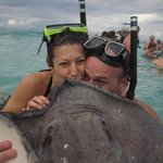 Kissing a stingray for 7 years of good luck!
