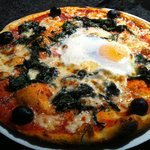 The spinach pizza with the egg.