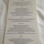 Ecco il menù del ristorante