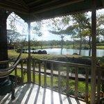 balcony overlooking the lake