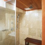 Shower in master bathroom with two shower heads