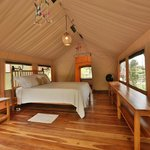 Inside of tent No. 2, all wood is teak from Raul's plantation