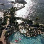 photo of pool, beach, and rec area from room on 8th floor