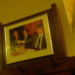 Clintons visit. Pride of place. Better suited hung in the toilet.