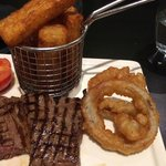 "Tough, over-done ""rare"" steak, soggy, oily ""chips""; seriously down-market onion rings"