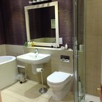Room 11 bathroom, good size, lovely full length mirror on facing wall.