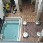 The inner courtyard of the riad with dipping pool.