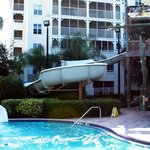 water slide in pool across the street from pirate ship