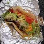 Beef taco to go. Loved it. Two will fill you up.