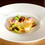Lobster and Scallop with Heirloom Tomatoes, Black Olive and Pastis