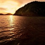 Sunset aboard Junk Boat