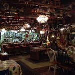 The big room of random decorations in the back of the restaurant