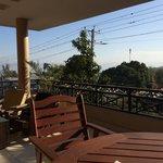 Breakfast on the common balcony overlooking Rue Metellus
