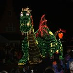 Elliott the dragon in the Electrical Parade