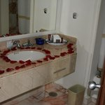 Rose petals in the bathroom