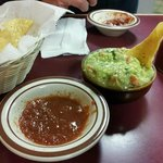 Salsa & guacamole with chips.