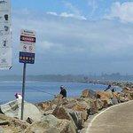 rock wall top fishing spot